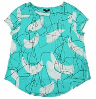 Alfani Abstract Lines Print Short Sleeve Women's T-Shirt Top XL NWT Teal