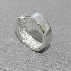 Herren Klappcreole Scharnier Einzel Männer Ohrring 925 Sterling Silber 16 x 5 mm