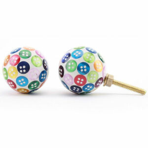 Multi Coloured Shabby Chic Cabinet Door Knob Handles   Button Resin Knobs