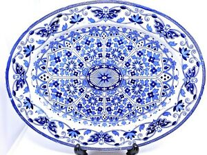 Antique Meat Platter / Thomas Booth & Sons / Indian Ornament / Circa 1872