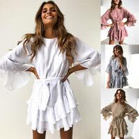 Popluar Lace Printed ruffled Irregular long-sleeved women's dress Summer Skirt