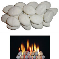 20 FAKE replacement WHITE Pebbles coals 4 gas fire imitation ceramic live/flame