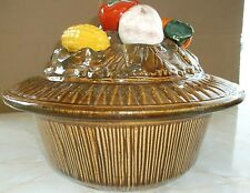 Vintage Cal Orig USA Covered Ceramic Bowl and Lid with Vegetable adornment