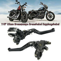 "7/8"" 22mm Universal Motorrad Bremspumpe Bremshebel Kupplungshebel Schwarz DE"