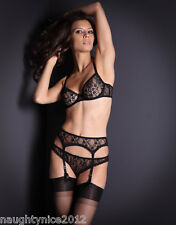 AGENT PROVOCATEUR BLACK SHAZAM BRA 32C/DD/34DD/36C 2 SMALL SUSPENDER & BRIEF NWT