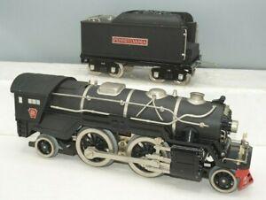 MTH STANDARD GAUGE 385E CRACKLE BLACK PRR LOCOMOTIVE & TENDER WITH NICKEL TRIM