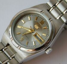 VTG SEIKO 5 LADIES SPORT DAY DATE AUTOMMATIC SS STAINLESS STEEL WRISTWATCH