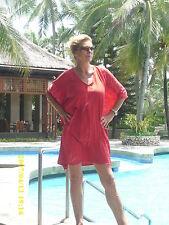 Neu Strandkaftan, Tunika Beachwear handcoloriert Designer Unikat Rot Batik