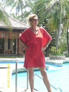 Neu Strandkaftan, Tunika Beachwear Hand coloriert Designer Unikat Rot Batik