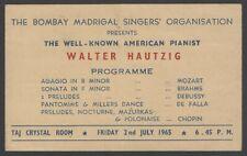 Walter Hautzig 1965 India performance advertisement