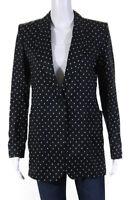 Max Mara Womens Polka Dot Single Button Blazer Black White Size 8