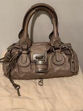 Authentic Chloe Paddington Lock Handbag Pewter Leather