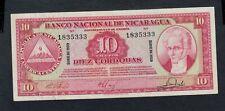 NICARAGUA  10  CORDOBAS  1959   PICK # 101b  XF+.