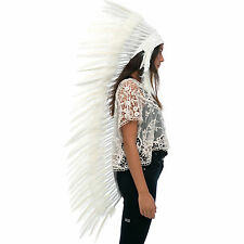 Extra Long Native American Indian style Feather Headdress - All White Duck