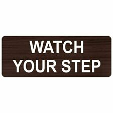 ComplianceSigns Engraved Plastic Watch Your Step Sign, 8 X 3 in. with English...