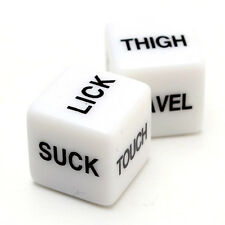 Pair of White Naughty Dice - Adult Fun Erotic Bedroom Gift Game Toy Sex Romantic