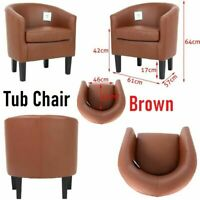 Luxury Faux Leather Tub Chair Armchair Sofa Seat Dining Living Room Office Home