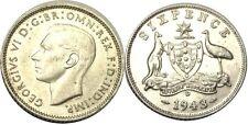 elf Australia 6 Pence 1943 D  George VI  Kangaroo Emu  World War II Denver
