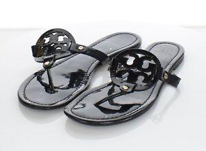 L12 $198 Women's Sz 11 M Tory Burch Miller Patent Leather Flip Flop Sandals