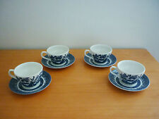 SET OF 4 VINTAGE CHURCHILL ENGLAND BLUE WILLOW CUPS & SAUCERS (GEORGIAN SHAPE)