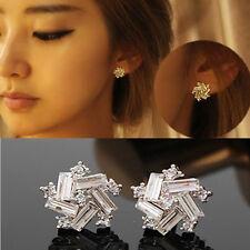 Korean Women Windmill Earrings Fashion Crystal Rhinestone Ear Stud Jewelry Gift
