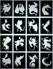 16 x Dragons Glitter Tattoo stencils