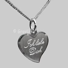 """Anhänger Herz """" Ich liebe Dich """" und Kette mit Gravur Silber  a095"""