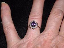 645   14k white gold 1 ct amethyst .33 ct diamond ring G VS 2 size 7  2.83 grams