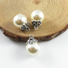 15x Silver Color Jewelry Making 17x12mm Alloy White Pearl Charms Pendants 52704