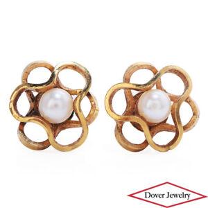 Estate Pearl 14K Gold Dainty Floral Stud Earrings NR