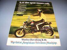 VINTAGE..HARLEY DAVIDSON X-90.. ORIGINAL COLOR SALES AD...RARE! (385F)