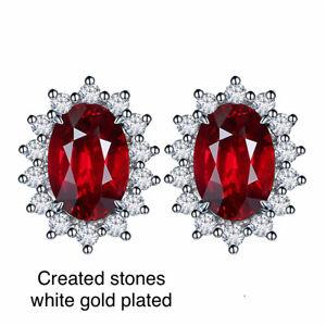 0.7ct 4x6mm oval Ruby DIAM0NDS earrings