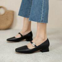 Ladies Suqare Toe Mary Jane Elegant Womens Block Heels Pumps Fashion Shoes Party