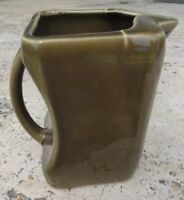 Square PITCHER glazed pottery Army green color over 5 inches tall