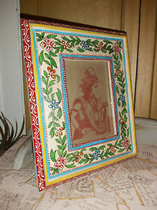 INDIAN HAND PAINTED MANGO WOOD STANDING PHOTO FRAME