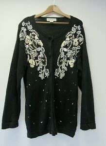 Vintage Victoria Harbour Black Cardigan White Beaded Size M - BST A1
