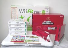 WII CONSOLE IN RED+WII FIT BOARD+GAMES+A FREE YEARS WARRANTY