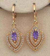 18K Gold Filled -1.4'' Amethyst Multilayer Hollow Topaz Gems Earrings Women Gift