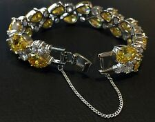 14k White Gold GF Bracelet made w Swarovski Crystal Citrine Yellow Stone Bridal