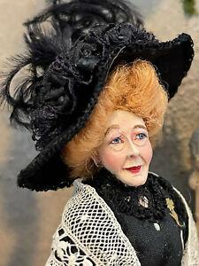 Vintage Miniature Dollhouse Doll Artisan Marcia Backstrom Victorian Lady Woman
