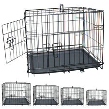 Dog Crate Cage Metal Travel Pet Cat Puppy Vet Portable 2 Doors Carrier Training