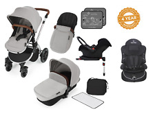 Ickle Bubba Stomp V3 Isofix Travel System silver on silver & 2nd Stage Car Seat