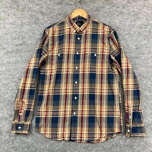 The Academy Brand Mens Button Up Shirt Size M Medium Plaid Long Sleeve 239.05