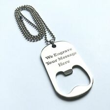 Personalized Free Engraved Stainless Steel Bottle Opener Necklace Dog Tag