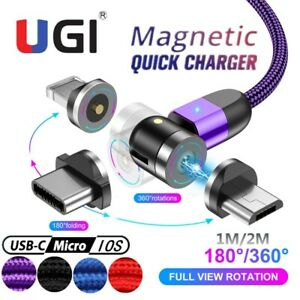 NEW 360° Magnetic Cable LED Type C Micro USB Charger Cord For iOS Android iPhone