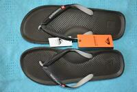 New QUIKSILVER Surf Thongs Mens Size 15 Black/Grey Quality Surfwear Haleiwa.