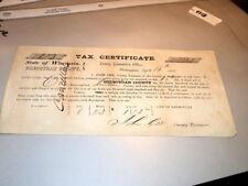 #7240,Rare Tax Certificate 1857 Sheboygan Wisc