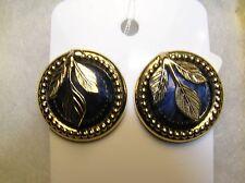 Vintage Gold Tone Round Blue Stone Gold Tone Leaf Pierced Earrings