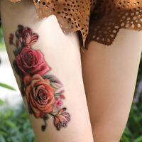 2x Mode Faux Temporaire Tatouage Autocollant Rose Fleur Bras Corp Étanche Fem BB