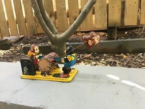Vintage Tin Yome Japanese toy of bears woodchiping - still works